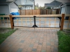 Cedar lattice fence with welded steel driveway gate frames - Greenlake, Ecoyards
