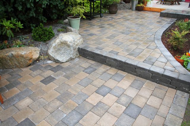 Roman Cobblestone Paver Patio With Boulder Seating   West Seattle, Ecoyards.