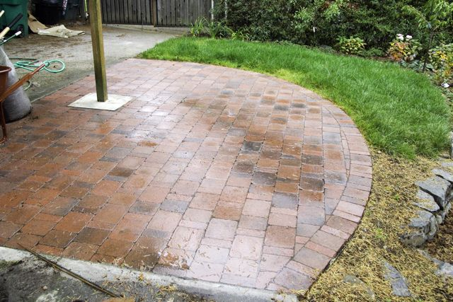 ... It Would Look To Have Concrete For Most Of The Patio, And Then Have A  Paver Stone Extension. Something Very Similar To This (you Can See The  Concrete In ...
