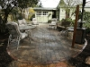 Paleo paver patio with recycled Seattle street brick edge - West Seattle, Ecoyards.