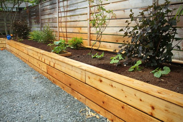 Black River Rock Inlay In Pavers Raised Garden Bed With Cedar Siding   West  Seattle, Ecoyards.
