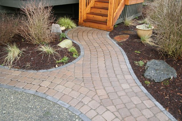 paver patio with landing step down | hardscapes | pinterest | patios